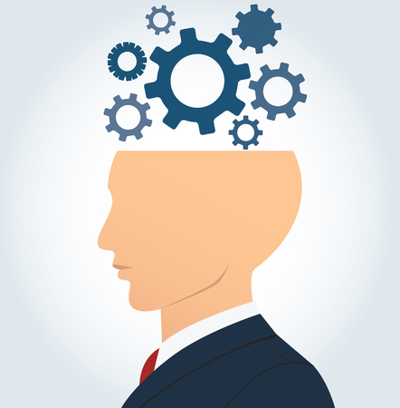 thinking machines: side businessman head with gears vector background.