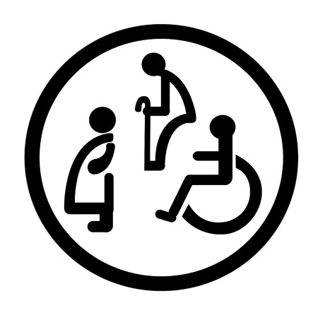 Bathroom signs for persons with special needs.