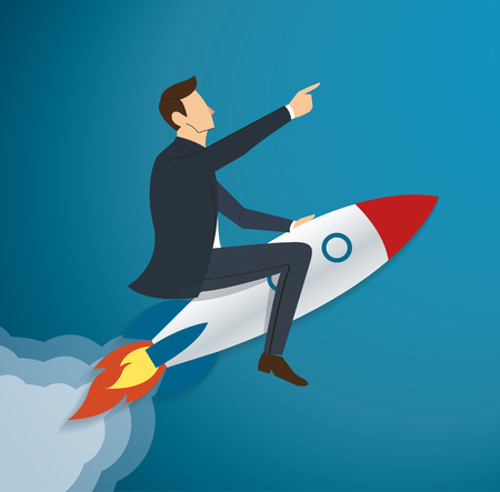 Businessman Flying with a Rocket to Success. Stock Vector - 87963394
