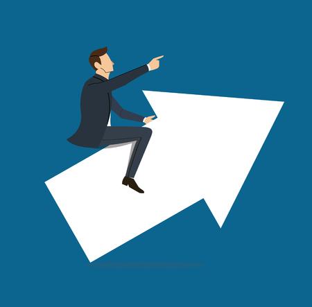 Businessman on arrow icon on blue background Illustration