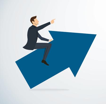 Businessman on arrow icon on white background Illustration