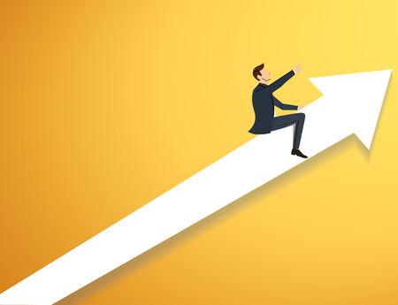 Businessman on long arrow icon vector illustration.