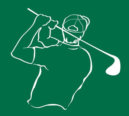 Man swinging golf vector illustration. 向量圖像