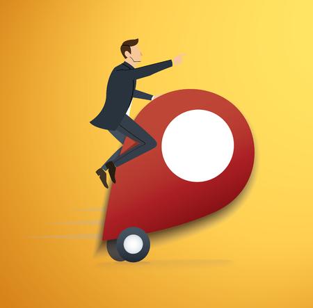 a man riding pin icon  vector. location icon travel symbol