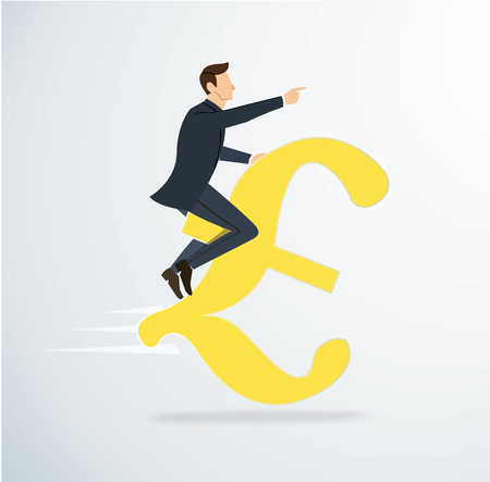 a man riding Euro icon vector. business concept illustration. way to success.