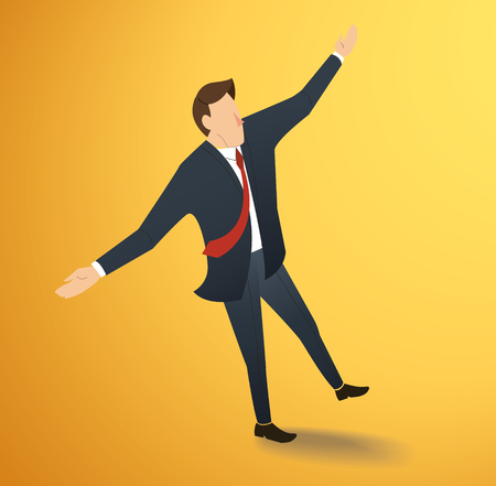 Man standing and stretching his arms vector Illustration