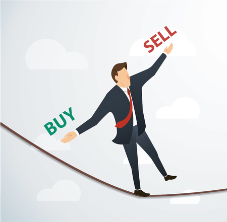 man handle buy or sell  walking in balance on rope over sky , business concept