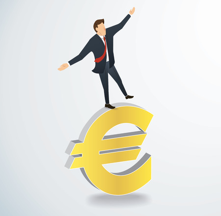 A businessman walking in balance on Euro icon vector illustration. Illustration