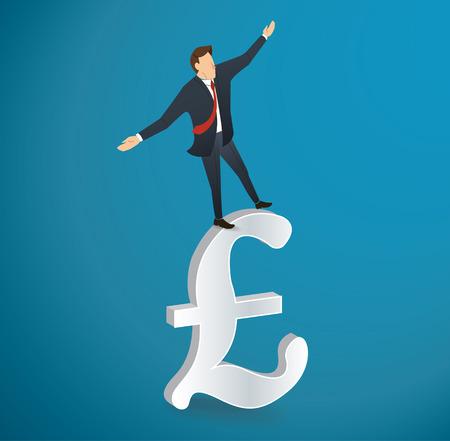 A businessman walking in balance on British pound icon vector illustration.