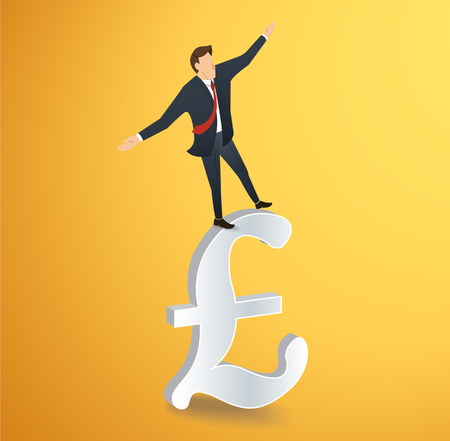 A businessman walking in balance on British pound icon vector illustration. Illustration