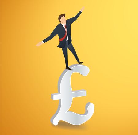 british money: A businessman walking in balance on British pound icon vector illustration. Illustration