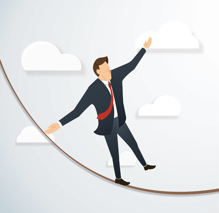 Concept of businessman or man in crisis walking in balance on rope over sky background.