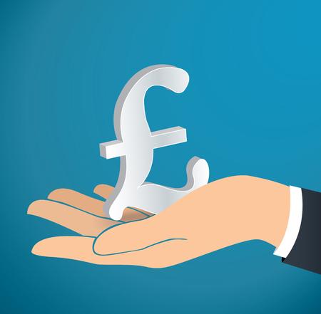 Hand holding British Pound icon vector