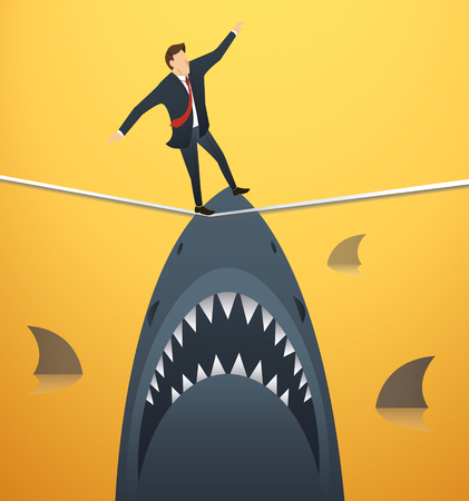 illustration of a businessman walking on rope with sharks underneath business risk chance