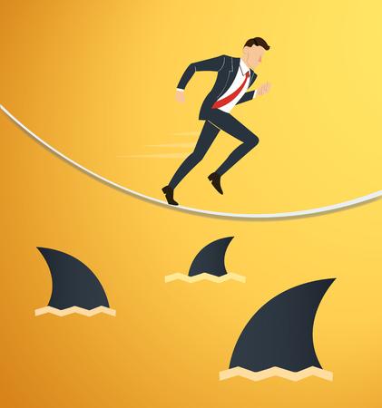 Ilustración de un hombre de negocios corriente en una cuerda con tiburones por debajo de la probabilidad de riesgo empresarial