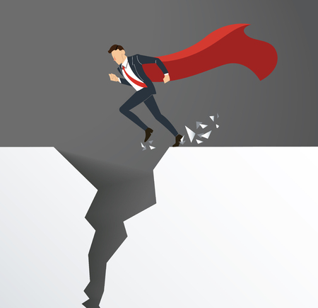 Businessman with cape overcome obstacle crisis risk concept. Illustration