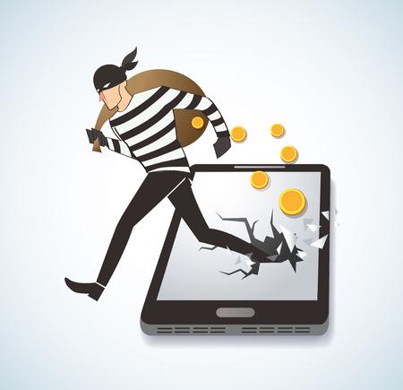 telephone cartoon: Thief Hacker Stealing Money On Smart Phone.