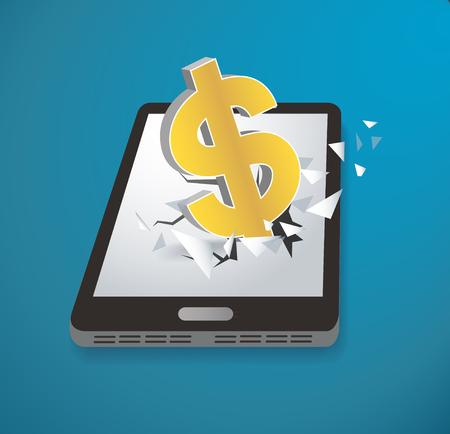 Dollar icon Breakthrough screen smartphone vector