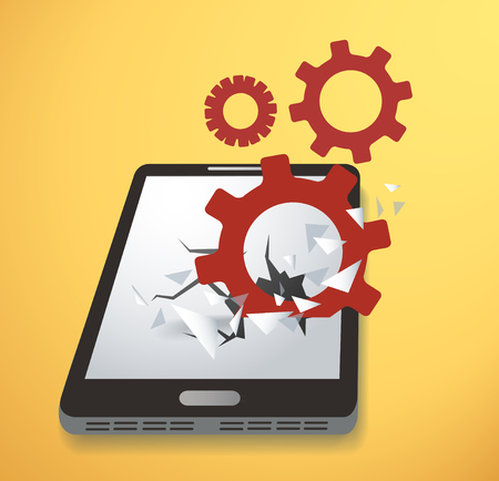 Gears icon Breaking through screen smartphone vector