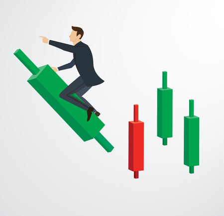 5businessman riding on Candlestick chart background vector