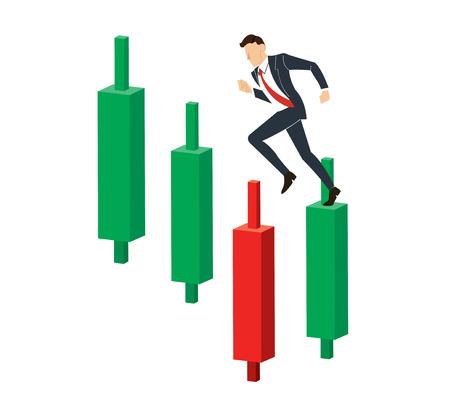 Running businessman on Candlestick stock exchange vector.