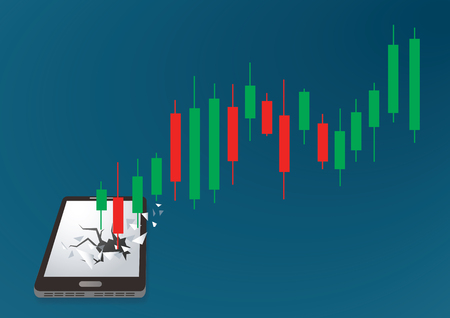 Candlestick stock exchange breakthrough smartphone vector