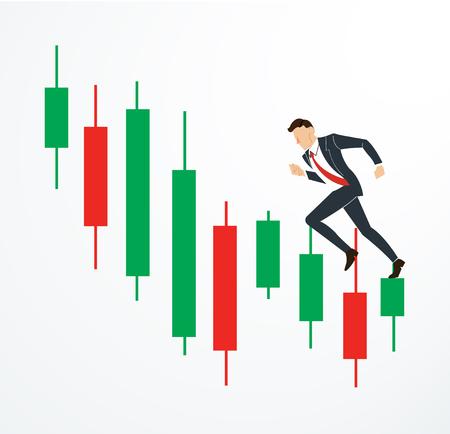 ローソク足証券取引所ベクトルでビジネスマンを実行します。  イラスト・ベクター素材