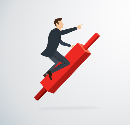 businessman riding on Candlestick chart icon vector Illustration