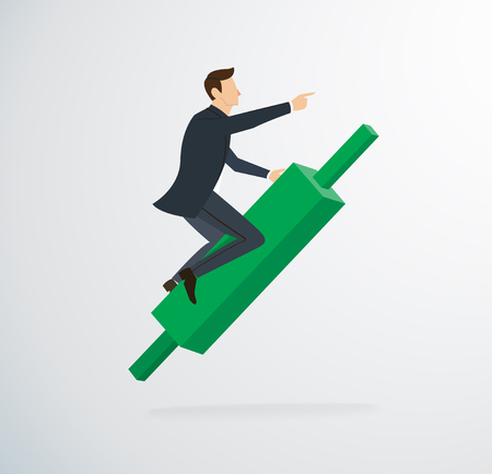 A businessman riding on rolling pin chart icon vector. Illustration