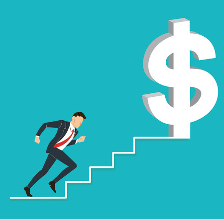 Man in suit running upstairs toward dollar money sign; Business concept illustration.