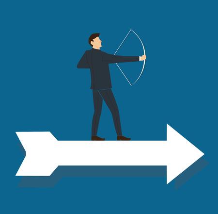 hombre de negocios exitoso en flecha con la ilustración de vector de negocio de concepto de arco