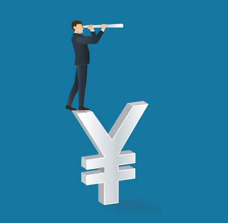 Businessman looks through a telescope standing on Yen icon Illustration