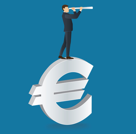 Businessman looks through a telescope standing on Euro icon