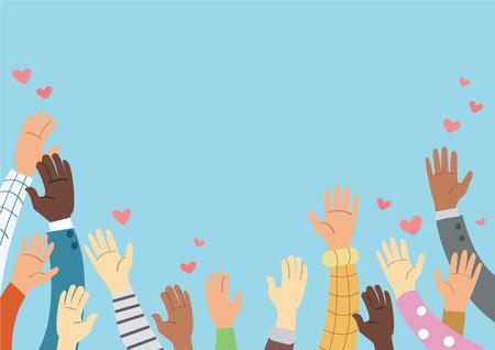 sollevato le mani volontario