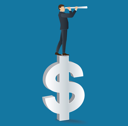 Businessman looks through a telescope standing on dollar icon Illustration