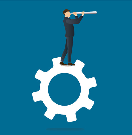 Businessman looks through a telescope standing on gears icon.
