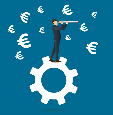 Businessman looks through a telescope standing on gear icon and Euro icon background Illustration