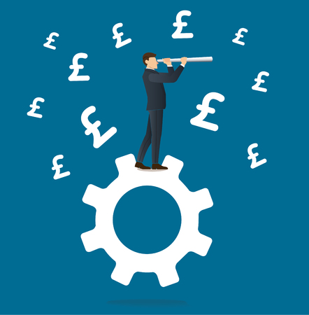 Businessman looks through a telescope standing on gear icon and Pound icon background Illustration