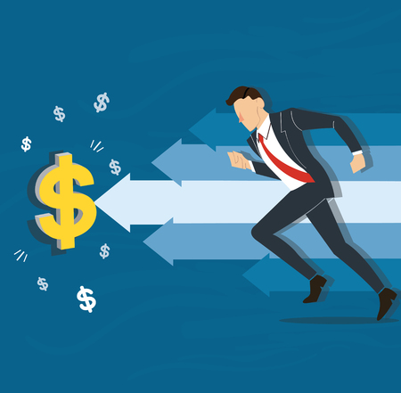 businessman running to dollar icon vector illustration