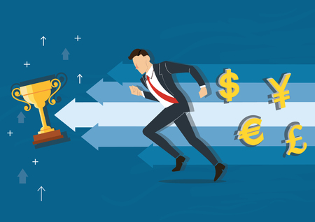 businessman running to the trophy vector illustration with money symbol icon background, business concept illustration