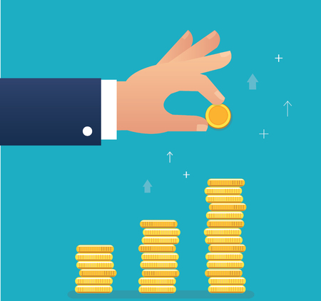hand holding coin and build coin graph, business concept vector illustration