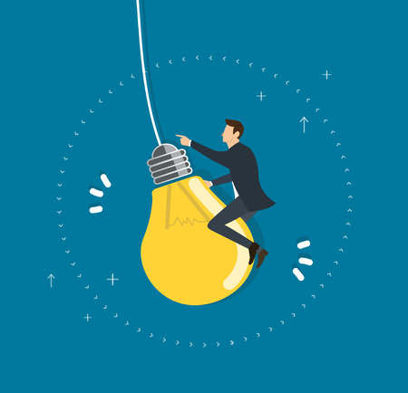 Businessman riding a light bulb flying in the sky, creative concept