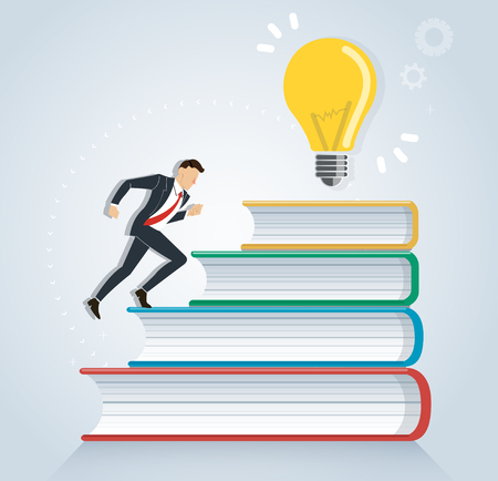 Successful businessman running on books to light bulb creative design vector illustration, education concepts