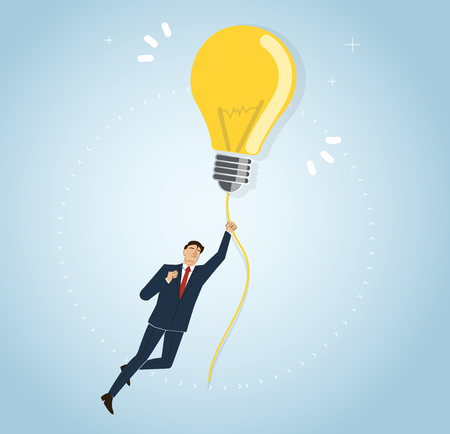 Businessman holding a light bulb flying in the sky, creative concepts