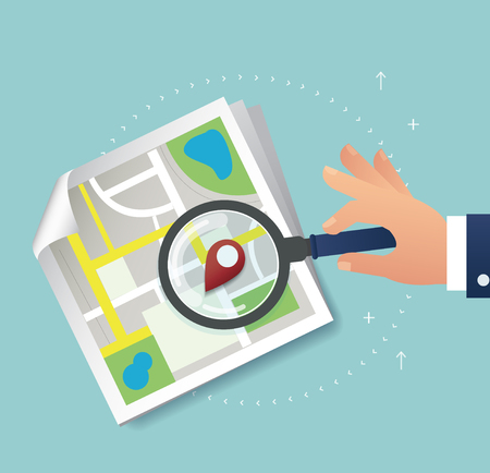 global positioning system: the magnifying glass and pin location icon and map vector, the concept of travel Illustration