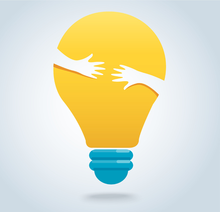 Hands hug the light bulb icon vector, creative concepts
