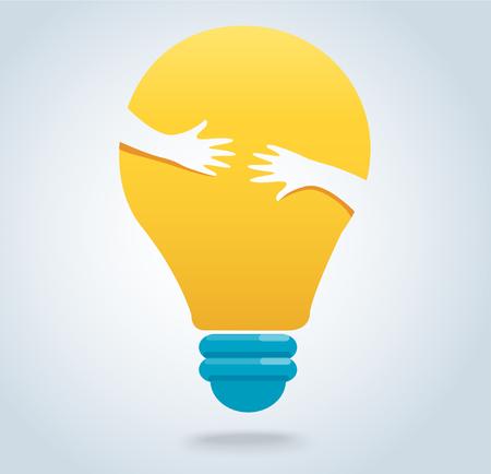 Hands hug the light bulb icon vector, creative concepts
