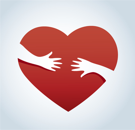 Hands hugging the heart vector, concept of love and care