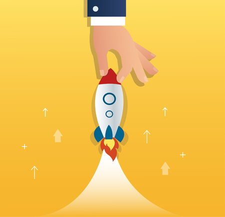 accelerated: A rocket and gears, startup business concept. Illustration