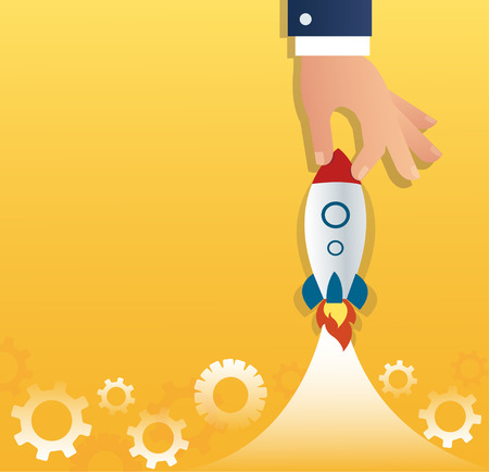 A rocket and gears, startup business concept. Illustration